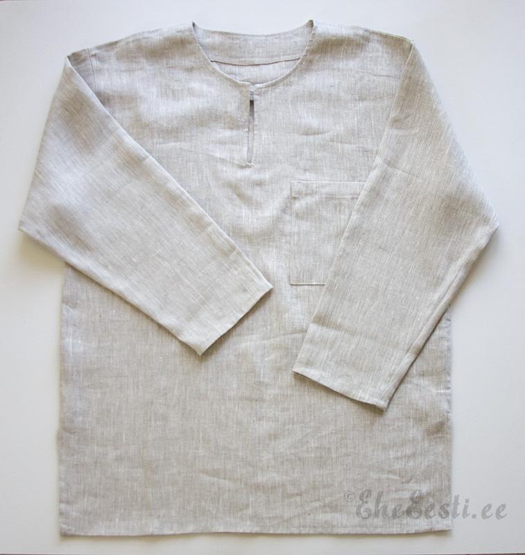 a0b93a22a27 Läbipestud linasest lihtne särk. Külgedel lõhikud ja ees tasku.